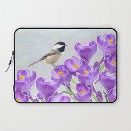 Chickadee and Purple Crocus Laptop Sleeve