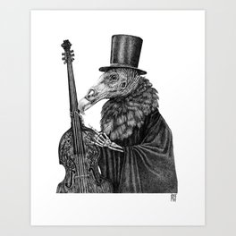 Vulture Double Bass by Pia Tham Art Print