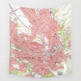 Vintage Map of Roanoke Virginia (1963) 2 Wall Tapestry