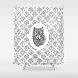 Gray & White Damasks Featuring Wolf Head Shower Curtain
