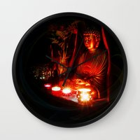 meditation Wall Clocks featuring Meditation by Christine Belanger