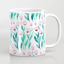 Simple watercolor flowers - pink and green Coffee Mug