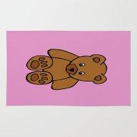 teddy bear Area & Throw Rugs featuring Teddy Bear by ArtSchool