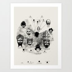 Ancient Faces Infographic Journey Art Print