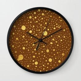 Gold leaf hand drawn dot pattern on brown Wall Clock