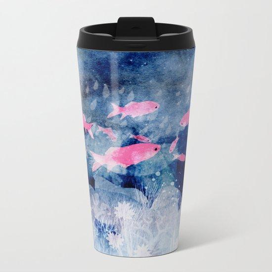 pink fish Metal Travel Mug