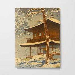 Japanese Woodblock Print Vintage Asian Art Colorful woodblock prints Winter Snow Shrine Metal Print
