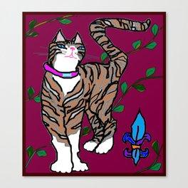 Pretty Kitty, Rocket with Fleur de Lis Canvas Print
