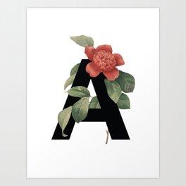 Floral Alphabet Prints: Letter A Art Print