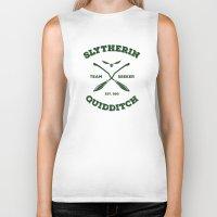 quidditch Biker Tanks featuring Slytherin Quidditch Team Seeker: Green by Sharayah Mitchell