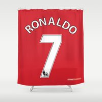 ronaldo Shower Curtains featuring Set of Seven: Ronaldo 7 by Crewe Illustrations