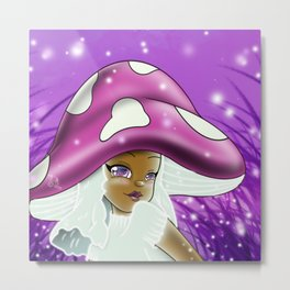 Purple Mushroom Girl Metal Print