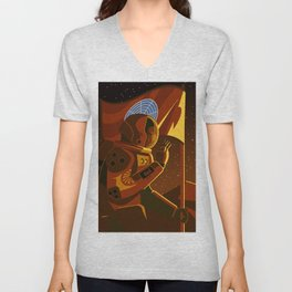mars astronaut exploration Unisex V-Neck