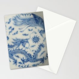 Damask vintage Monaco blue white girly ginger jar floral antique chinese dragon chinoiserie china Stationery Cards