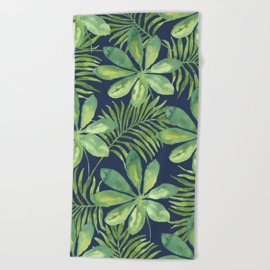 Tropical Branches Pattern on Dark 01 Beach Towel
