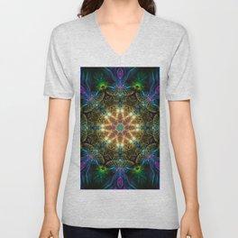 Neon - Fractal - Mandala - Kaleidoscope - Manafold Art Unisex V-Neck