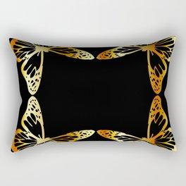 Golden butterflies flying against black Rectangular Pillow