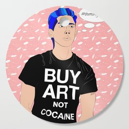 Buy Art, Not Cocaine - Dude with Blue Hair Typography Digital Drawing Cutting Board