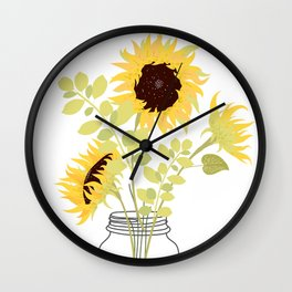 Sunflowers in Jar Wall Clock