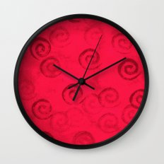 Festive Red Spirals Wall Clock