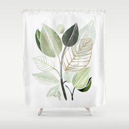 Forest Bouquet - Green Leaves Watercolor Shower Curtain