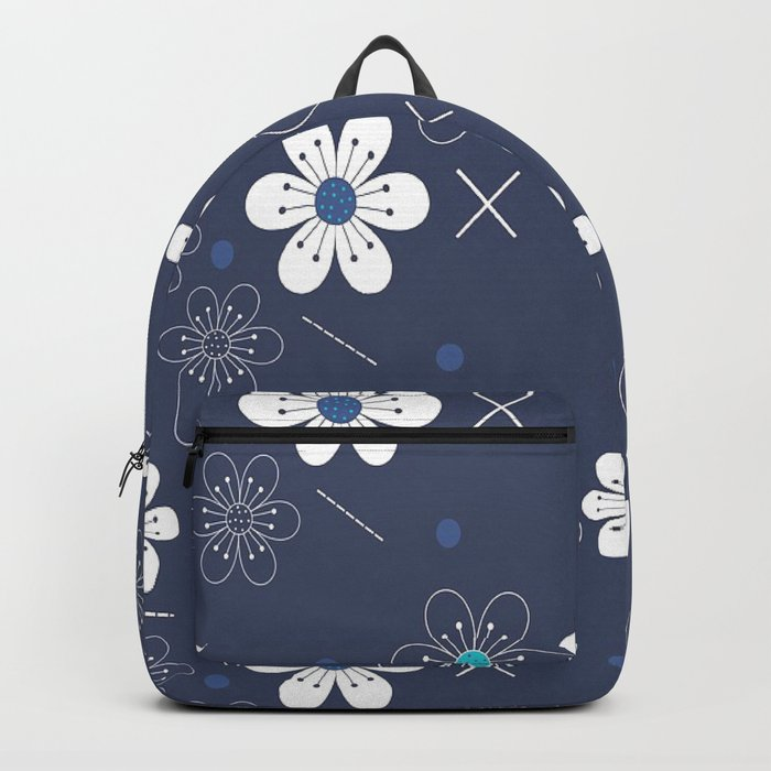 Blue an White Floral Backpack