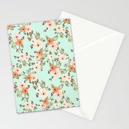 Rose I, Watercolor Mint & Orange Stationery Cards