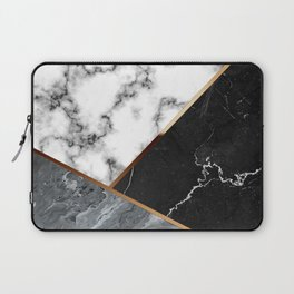 Elegant Silver Marble with Bronze Lining Laptop Sleeve