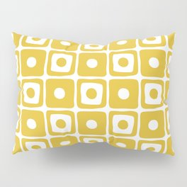 Mid Century Square Dot Pattern Mustard Yellow Pillow Sham