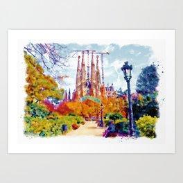 La Sagrada Familia - Park View Art Print