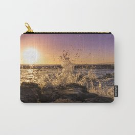 Magical sunset and waves breaking over rocky beach Carry-All Pouch