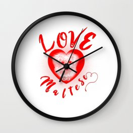 Maltese Dog Puppy Endless Love rw Wall Clock