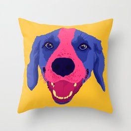 beagle - yellow Throw Pillow