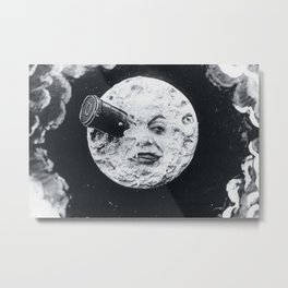 Vintage 1902 'Man in the Moon' silent film black and white photography Metal Print