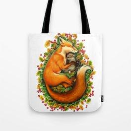 Fox and bunny sleeping Tote Bag