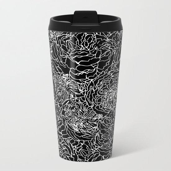 SPRING IN WHITE AND BLACK Metal Travel Mug