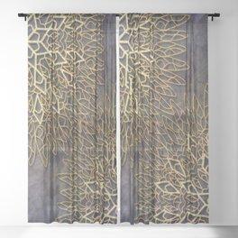 Gold Mandalas on Violet Background Sheer Curtain