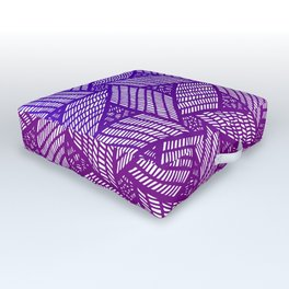Japanese style wood carving pattern in purple Outdoor Floor Cushion