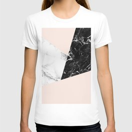 Black white marble blush pink color block T-shirt