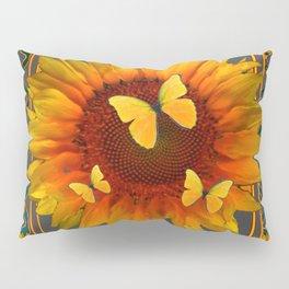 GREY KANSAS YELLOW  SUNFLOWERS BUTTERFLY DECO Pillow Sham