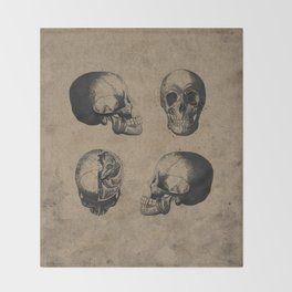 Skull View - Antique Vintage Style Medical Etching Throw Blanket
