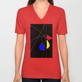 Primary Introduction - Abstract, red, blue, yellow, black, white artwork Unisex V-Neck