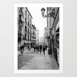 Morning Street Scene in Madrid BW Art Print