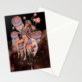 Jelly Fish Girl Stationery Cards
