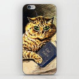 """Cat Tales"" Cat Reading Book - Louis Wain iPhone Skin"