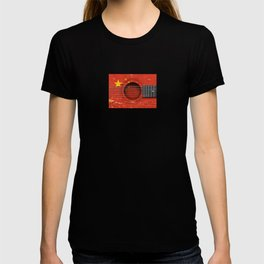 Old Vintage Acoustic Guitar with Chinese Flag T-shirt
