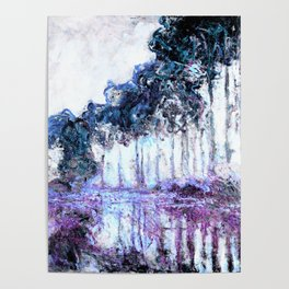 Monet : Poplars Lavender Periwinkle Deep Blue Poster