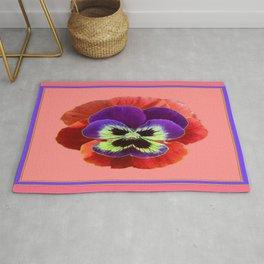 Coral-pink Color Purple Pansy Art Desighn Rug