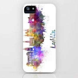 Lublin skyline in watercolor iPhone Case
