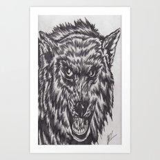 Angry wolf Art Print